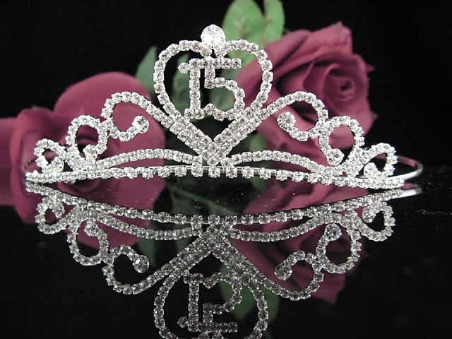 Cute Sweet 15 Crystal Happy Birthday Tiara ;Delicate Silver Sweetheart Crown Regal #46