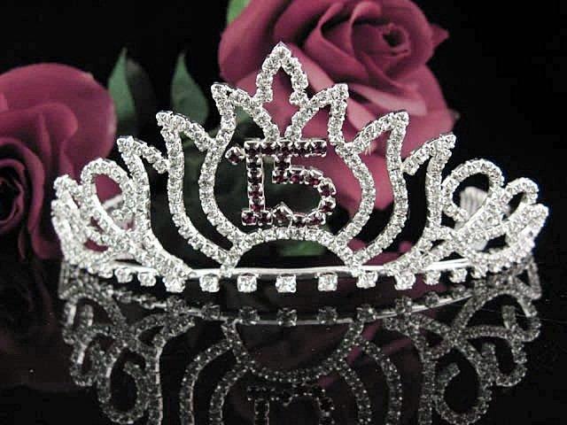 Cute Sweet 15 Crystal Happy Birthday Tiara ;Delicate Silver Sweetheart Crown Regal #47r