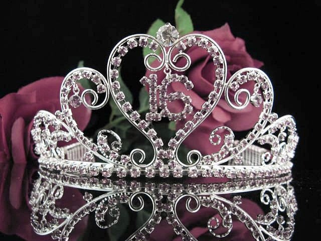 Huge Sweet 16 Crystal Purple Happy Birthday Tiara ;Delicate Silver Sweetheart Crown Regal #51pu