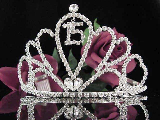 Huge Sweet 15 Crystal Happy Birthday Tiara ;Delicate Silver Sweetheart Crown Regal #53