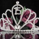 Huge Sweet 15 Crystal Happy Birthday Tiara ;Delicate Silver Sweetheart Crown Regal #53
