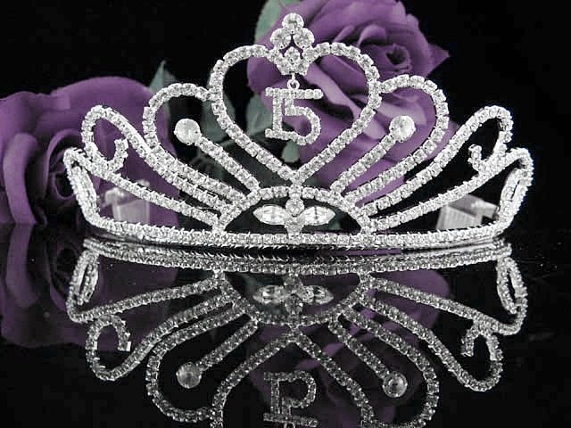 Huge Sweet 15 Crystal Happy Birthday Tiara ;Delicate Silver Sweetheart Crown Regal #55
