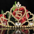 Huge Golden Sweet 15 Crystal Happy Birthday Tiara ;Delicate Sweetheart Crown Regal #57g