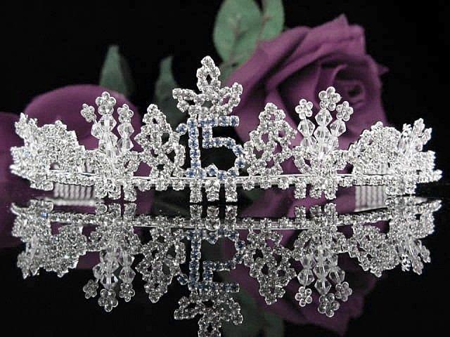 Silver Sweet 15 Crystal Happy Birthday Tiara ;Delicate Sweetheart Crown Regal #59