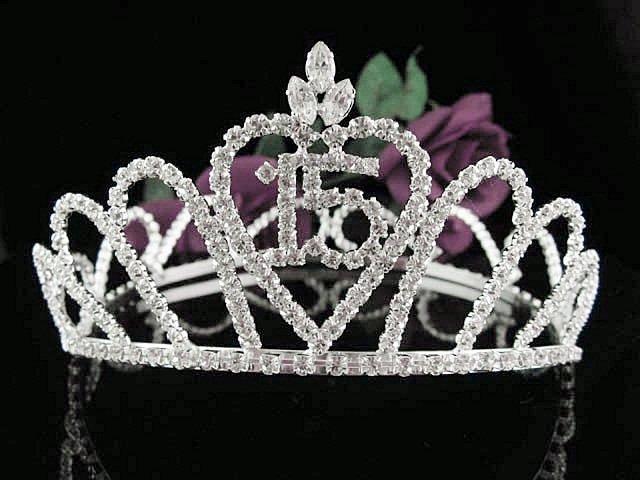Silver Sweet 15 Crystal Happy Birthday Tiara Crown ;Delicate Sweetheart Full Crown Regal #60