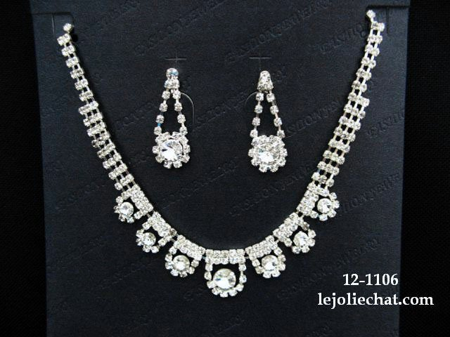 Sparkle Fashion Jewelry;Silver Bridal Necklace Set;Rhinestone Wedding Pin Earring Necklace Set #1106