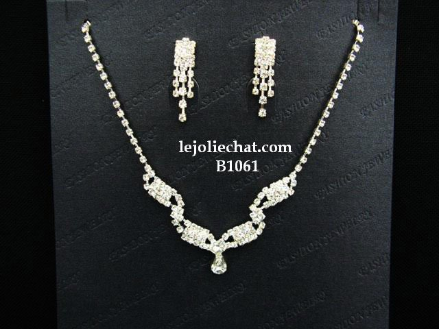 Fashion Jewelry;Silver Bridal Necklace Set;Rhinestone Wedding Slip Earring Necklace Set #1061