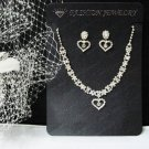 Fashion Jewelry;Silver Bridal Necklace Set;Rhinestone Wedding Slip Earring Necklace Set #1089