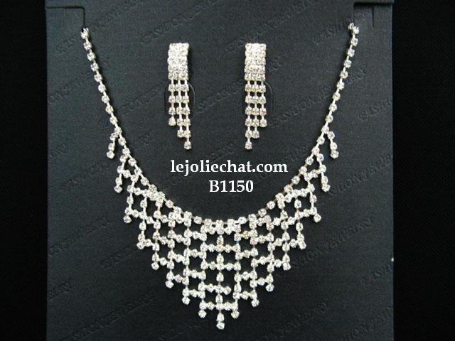 Fashion Jewelry;Silver Bridal Necklace Set;Rhinestone Wedding Slip Earring Necklace Set #1150