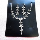 Fashion Jewelry;Silver Bridal Necklace Set;Rhinestone Wedding Clip Earring Necklace #7596