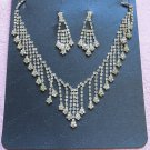 Silver Fashion Jewelry set; Bridal Necklace Set;Rhinestone Wedding Clip Earring Necklace #3745