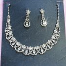 Silver Fashion Jewelry set; Bridal Necklace Set;Rhinestone Wedding Clip Earring Necklace #816