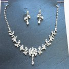 Silver Fashion Jewelry set; Bridal Necklace Set;Rhinestone Wedding Clip Earring Necklace #1434