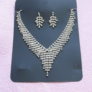 Silver Fashion Jewelry set; Bridal Necklace Set;Rhinestone Wedding Clip Earring Necklace #mn2
