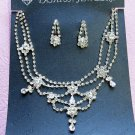 Silver Fashion Jewelry set; Bridal Necklace Set;Rhinestone Wedding Clip Earring Necklace set #2794