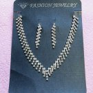 Silver Fashion Jewelry set; Bridal Necklace Set;Rhinestone Wedding Clip Earring Necklace set #3053