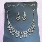 Silver Fashion Jewelry set; Bridal Necklace Set;Rhinestone Wedding Clip Earring Necklace set #64