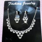Silver Fashion Jewelry set; Bridal Necklace Set;Rhinestone Wedding Clip Earring Necklace set #07