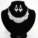 Silver Fashion Jewelry set; Bridal Necklace Set;Rhinestone Wedding Clip Earring Necklace set #1905