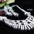 Silver elegance Jewelry set; Bridal Necklace Set;Rhinestone Wedding clip Earring Necklace #1857