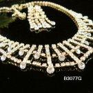 Golden elegance Jewelry set; Bridal Necklace Set;Rhinestone Wedding clip Earring Necklace #3077G