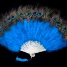 Coque Rooster Handmde Peacock eye & blue marabou feather Fan;Bridal Party Chandelle Fluffy Fan#4b