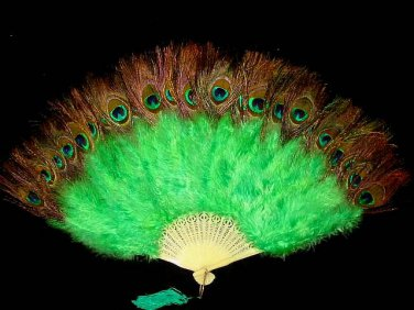 Coque Rooster Handmde Peacock eye & green marabou feather Fan;Bridal Party Chandelle Fluffy Fan#5gr