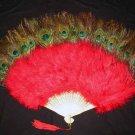 Coque Rooster Handmde Peacock eye & red marabou feather Fan;Bridal Party Chandelle Fluffy Fan#6r