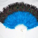 Coque Rooster Handmde Peacock eye & Blue marabou feather Fan;Bridal Party Chandelle Fluffy Fan#19