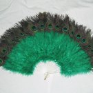 Coque Rooster Handmde Peacock eye & D green marabou feather Fan;Bridal Party Chandelle Fluffy Fan#20