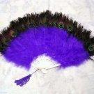 Coque Rooster Handmde Peacock eye & purple marabou feather Fan;Bridal Party Chandelle Fluffy Fan#23