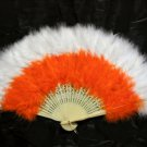 Handmade Rooster white orange marabou feather Fan;Bridal Party Chandelle Fluffy Fan#27