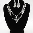 Silver Dangle Jewelry set; Bridal Necklace Set;Rhinestone Wedding Clip Earring Necklace #3437