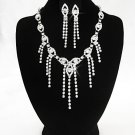 Silver Swarovski jewelry set; Bridal Necklace Set;Rhinestone Wedding Clip Earring Necklace #8969