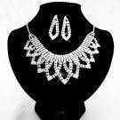 Silver jewelry set;sparkle daisy Bridal Necklace Set;Rhinestone Wedding Clip Earring Necklace #4259
