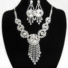Elegant Silver jewelry set;sparkle Bridal Necklace Set;Rhinestone Wedding Clip Earring Necklace#167