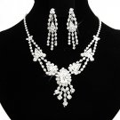 Elegant Silver jewelry set;sparkle Bridal Necklace Set;Rhinestone Wedding Clip Earring Necklace#165