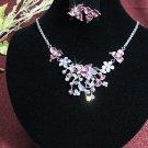Fashion jewelry necklace set;Bridal Necklace Set;sparkle;Rhinestone Wedding Pin Earring set#752