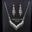 Elegance Clip Earring set; Bridal Necklace Set;Dangle Fashion jewelry necklace set #2131