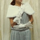 Satin Ivory Bridal Glove;Elbow organza Party Bride Gloves #1i
