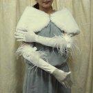Satin Ivory Ostrich Bridal Glove;Elbow Ribbon Party Bride Gloves #5i