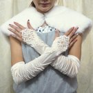 Satin Ivory Fingerless Bridal Gloves ;Elbow French Lace Party Bride Gloves #64i