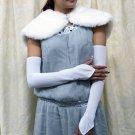 Satin white Bridal Gloves ;fingerless Plain Bride Gloves #120w