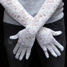 white Bridal Gloves ;French Lace Elastic Floral Pattern Bride Gloves #74
