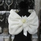 Handmade Ivory Faux Fur Shrug Shawl ;Wedding Wrap;Bridal Scarf #sh7