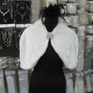 Bridal Faux Fur Shrug : Ivory Shawl Stole ;Wedding Wrap#sh9