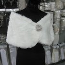 BRIDAL WEDDING OFF WHITE BOLERO FAUX FUR SHRUG ; WEDDING WRAP SHAWL SCARF#sh13