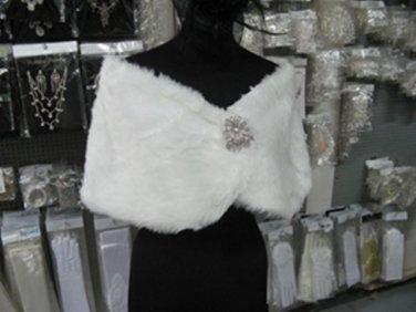 BRIDAL WEDDING OFF WHITE BOLERO FAUX FUR SHRUG ; WEDDING WRAP SHAWL SCARF#sh13