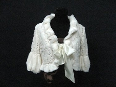 BRIDAL WEDDING OFF WHITE BOLERO ; FAUX FUR SHRUG ; WEDDING WRAP SHAWL SCARF#sh20