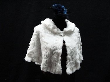 BRIDAL WEDDING OFF WHITE BOLERO ; FAUX FUR SHRUG ; WEDDING WRAP SHAWL SCARF#sh21
